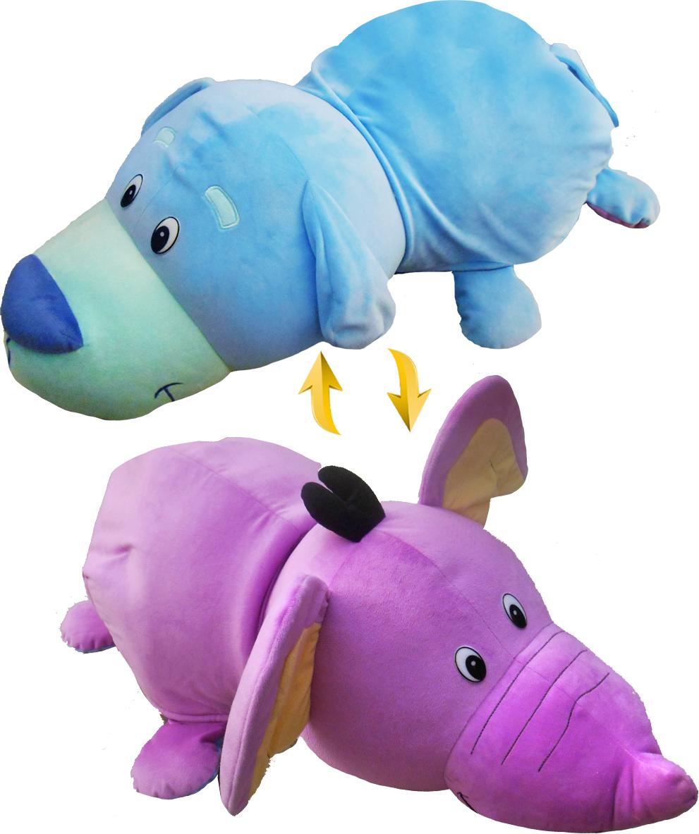 1TOYМягкая игрушкаВывернушка 2в1 Голубой Щенок-Фиолетовый слон 76 см - Мягкие игрушки