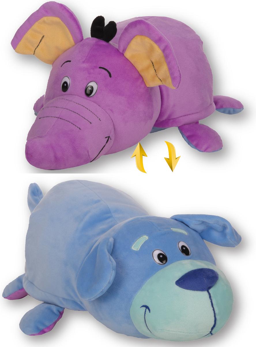 1TOYМягкая игрушкаВывернушка 2в1 Голубой щенок-Фиолетовый слон 40 см - Мягкие игрушки
