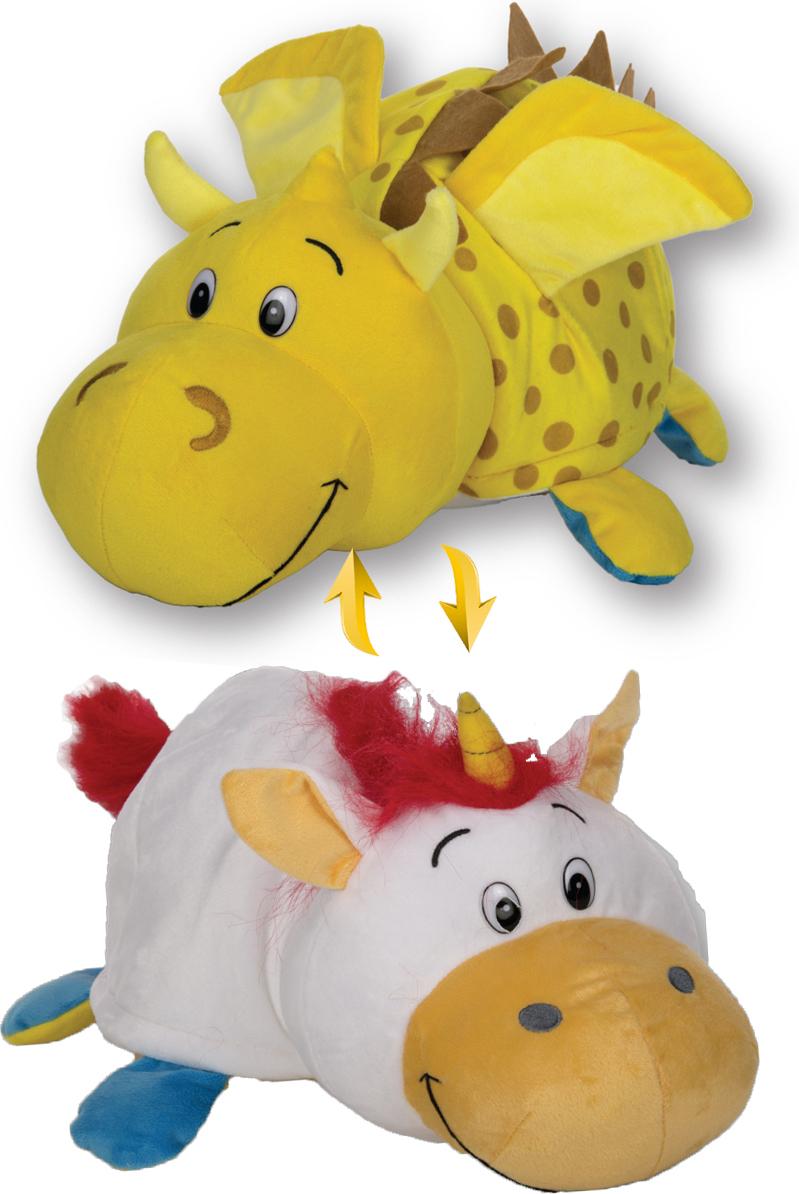 1TOYМягкая игрушкаВывернушка 2в1 Золотой дракон-Единорог 40 см - Мягкие игрушки