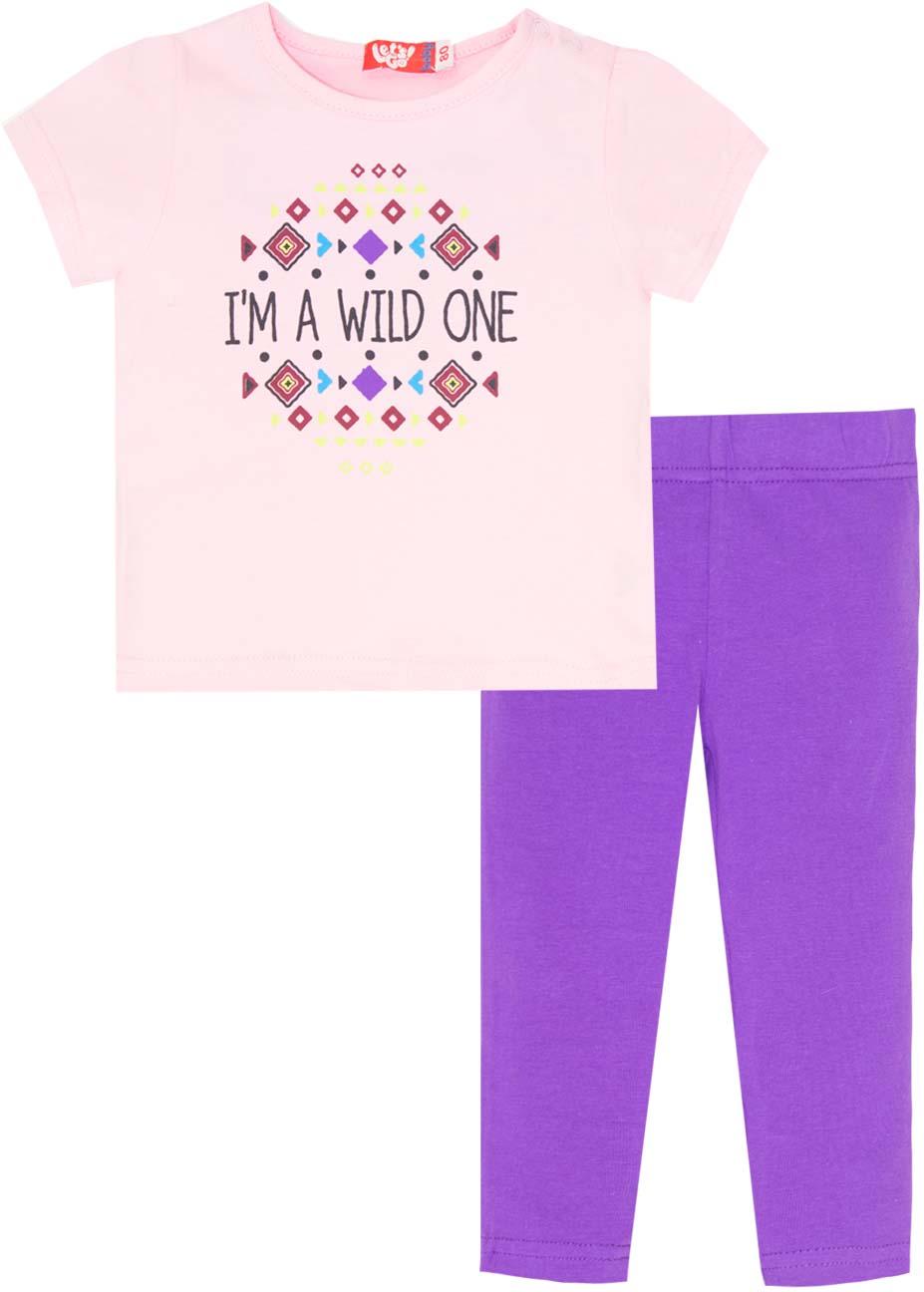Комплект одежды для девочки Let's Go: футболка, лосины, цвет: светло-розовый, фиолетовый. 4144. Размер 86 комплект одежды для девочки let s go футболка бриджи цвет лиловый фиолетовый 4132 размер 74