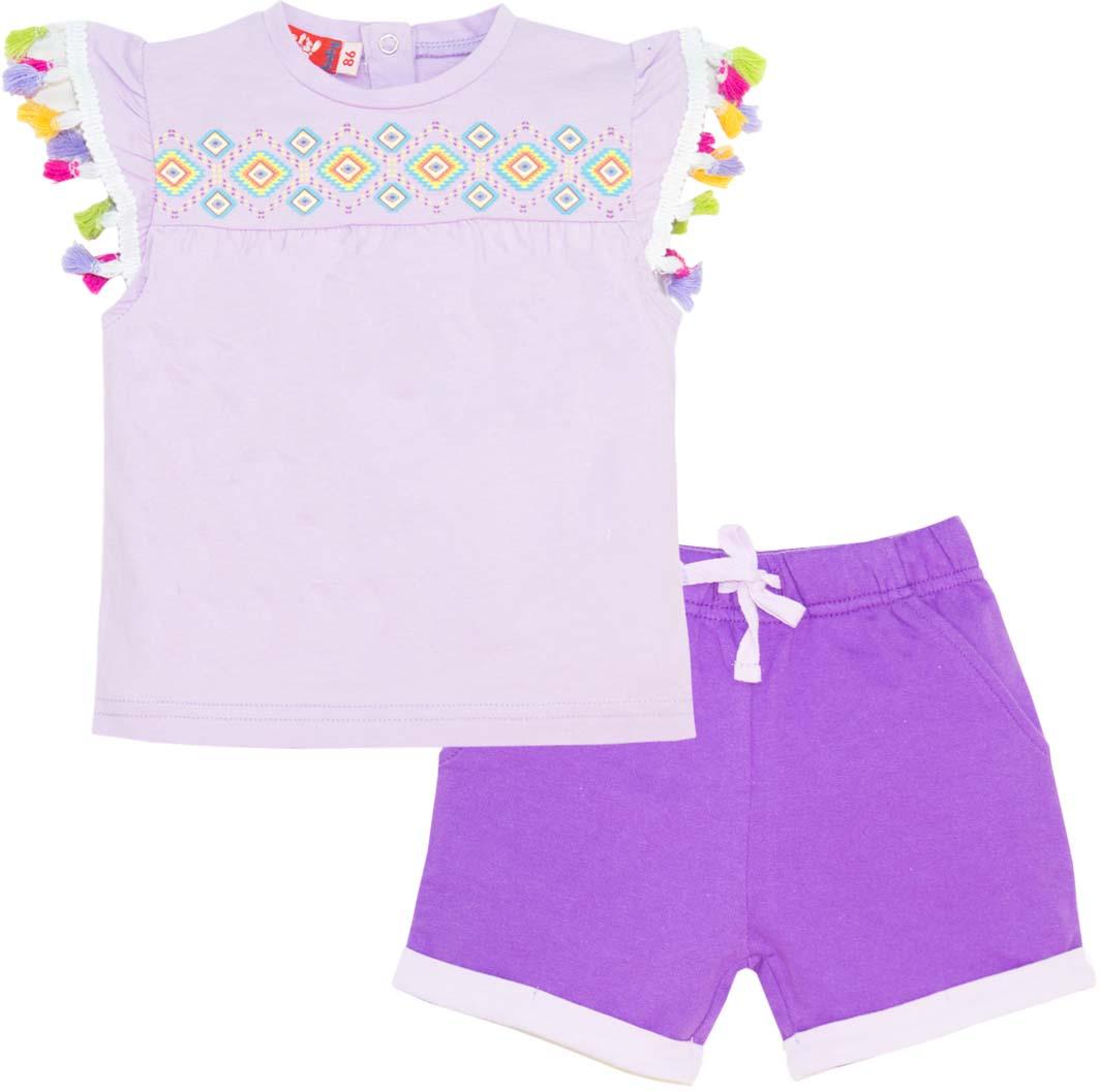 Комплект одежды для девочки Let's Go: футболка, шорты, цвет: светло-сиреневый, фиолетовый. 4124. Размер 86 комплект одежды для девочки let s go футболка бриджи цвет лиловый фиолетовый 4132 размер 74