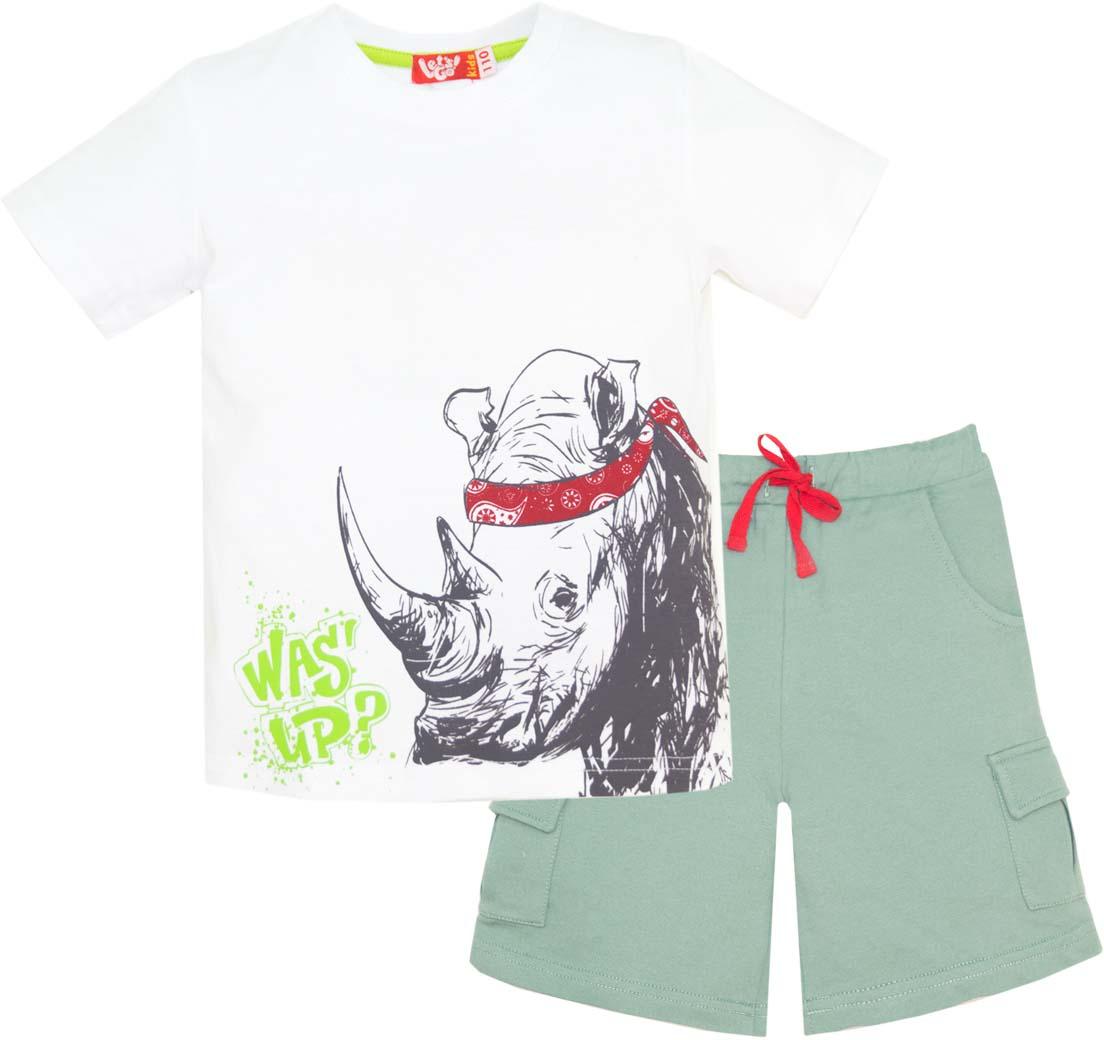 Комплект одежды для мальчика Let's Go: футболка, шорты, цвет: белый, серо-зеленый. 4224. Размер 98 комплект одежды для мальчика let s go футболка шорты цвет горчичный оливковый 4231 размер 98