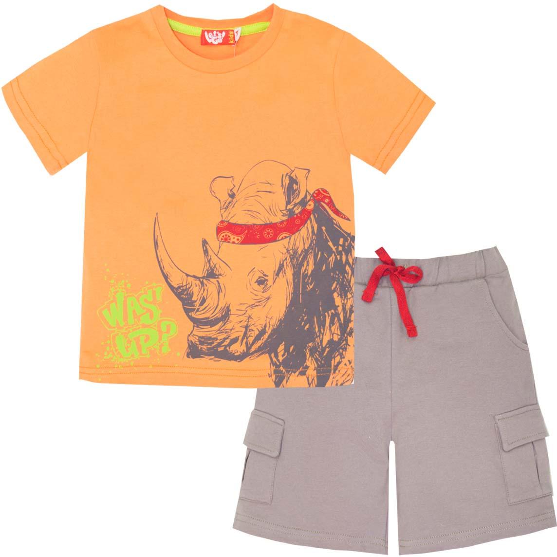 Комплект одежды для мальчика Let's Go: футболка, шорты, цвет: оранжевый, серый. 4224. Размер 98 комплект одежды для мальчика let s go футболка шорты цвет горчичный оливковый 4231 размер 98