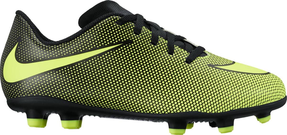 Бутсы для мальчика Nike JrBravata Ii Fg, цвет: желтый, черный. 844442-070. Размер 6Y (37,5)844442-070Kids Nike Jr. Bravata II (FG) Firm-Ground Football Boot Детские футбольные бутсы для игры на твердом грунте Nike Jr. Bravata II (FG) оптимизируют скорость без ущерба для касания мяча. Разнонаправленные шипы помогают быстро развивать скорость, а микрорельеф верха повышает сцепление для большего контроля над мячом. Верх из синтетической кожи для прочности и превосходного касания. Поверхность верха с микротекстурой обеспечивает превосходный контроль мяча на высокой скорости. Асимметричная шнуровка увеличивает площадь контроля над мячом. Контурная стелька обеспечивает низкопрофильную амортизацию, снижая давление от шипов. Подметка предназначена для игры на твердом натуральном покрытии. Синтетическая кожа