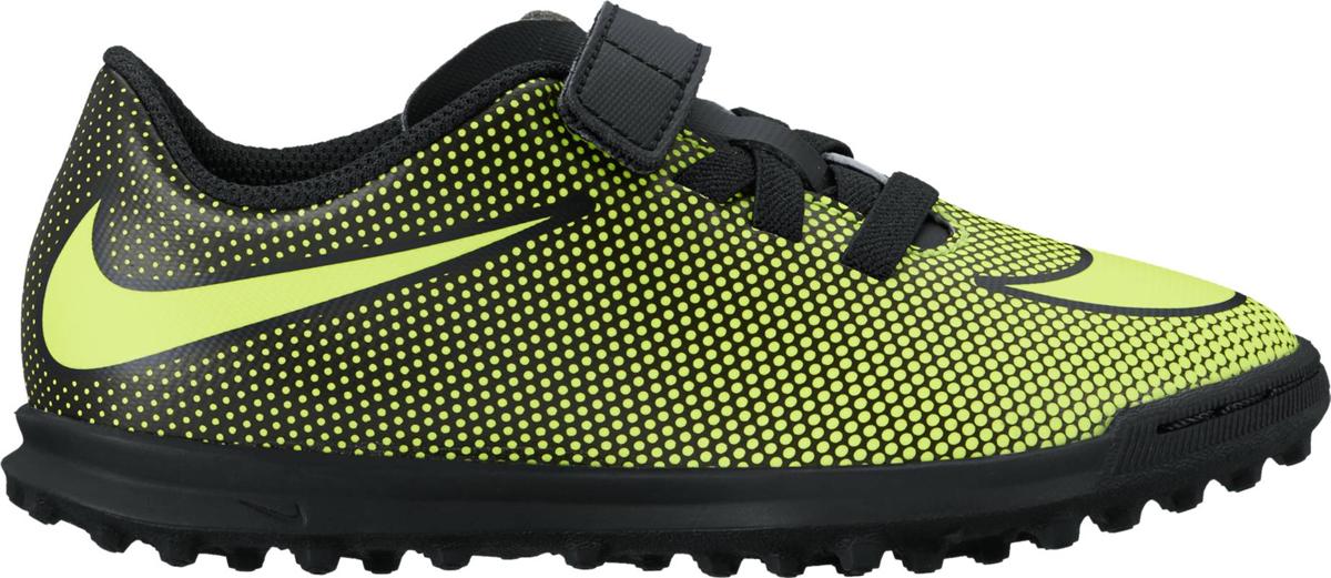 Бутсы для мальчика Nike Jr Bravatax Ii (V) Ic, цвет: желтый, черный. 844439-070. Размер 3Y (34)