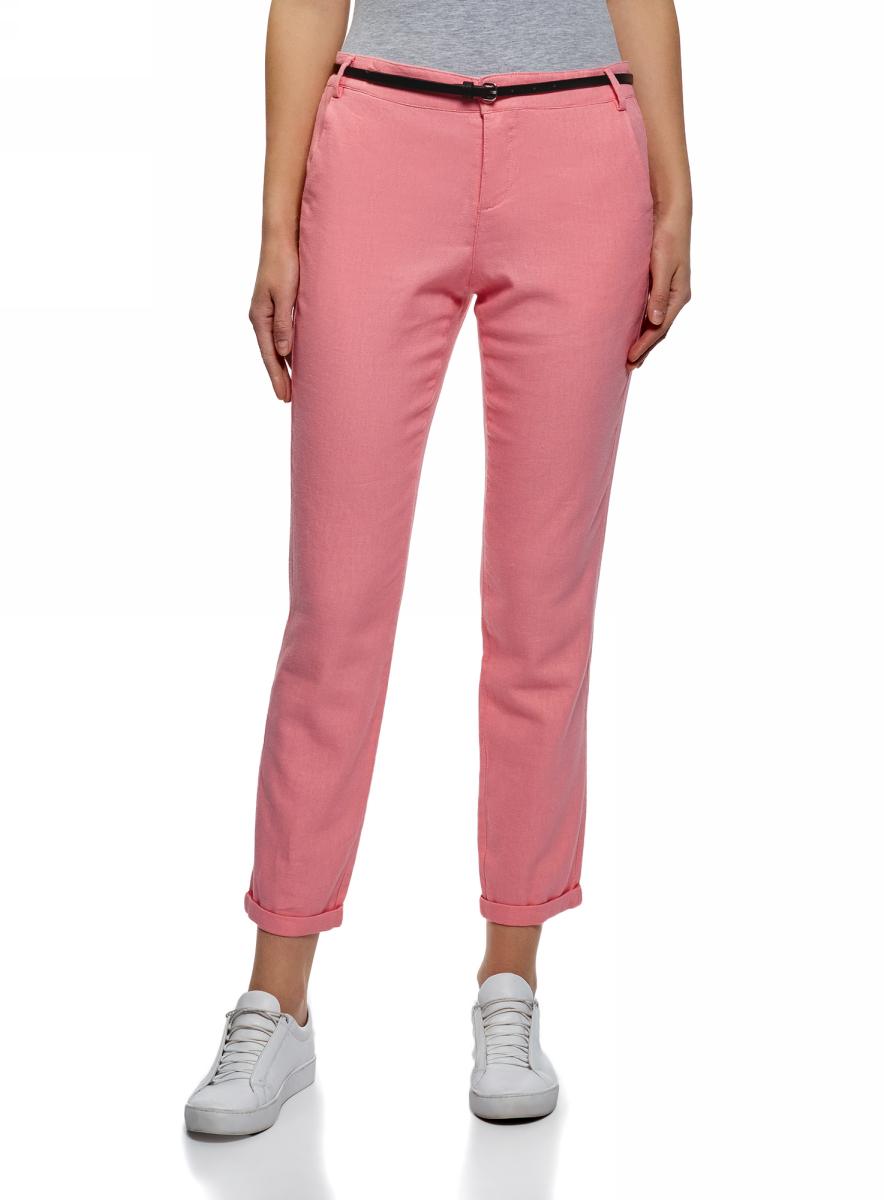 Купить Брюки женские oodji Ultra, цвет: розовый. 11706205/16009/4100N. Размер 40 (46-170)