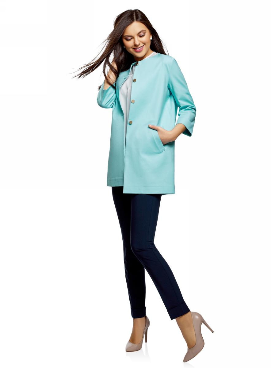 Купить Пальто женское oodji Ultra, цвет: голубой. 10103029/48229/7000N. Размер 36 (42-170)