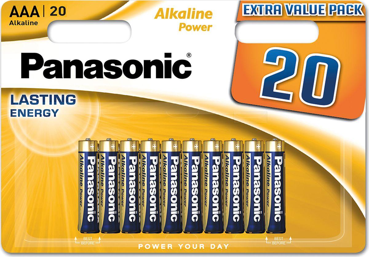 Батарейка щелочная Panasonic Alkaline Power, LR03 (AAA), 1,5В, 20 шт батарейки panasonic everyday power silver aaa 2 шт