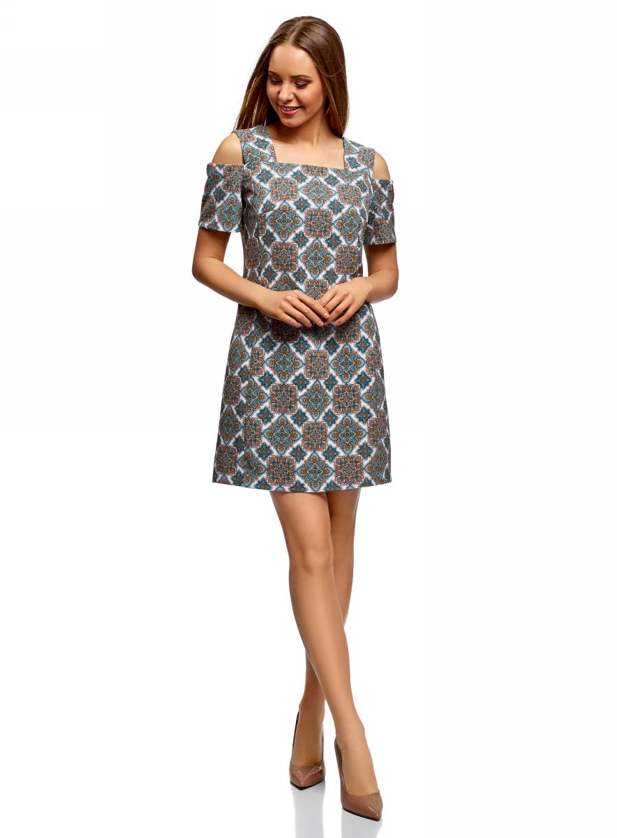 Платье oodji Ultra, цвет: белый, оранжевый. 12C00004/42830/1255E. Размер 42 (48-170)12C00004/42830/1255EПлатье прямого кроя на широких бретелях. Модель длиной до колена. Оригинальные детали кроя – прямоугольный вырез, широкие бретели и декоративные рукава – подчеркивают плечи и линию декольте. Благодаря вытачкам на груди платье оптимально садится по фигуре.Легкий и приятный на ощупь материал хорошо держит форму, легко переносит стирку и быстро сохнет. Прямой крой с акцентом на плечах визуально стройнит силуэт и подходит для фигур любого типа. Элегантное и оригинальное платье украсит ваш гардероб. Вы будете блистать в нем на вечеринке, праздничном мероприятии или романтическом свидании.Платье прекрасно смотрится с туфлями-лодочками на каблуках или танкетке. Сумочка на цепочке, украшения из благородных металлов и капля духов гармонично дополнят образ. Интересно это платье будет смотреться и в комплектах с болеро, меховым жилетом или короткой байкерской курткой.Изысканное нарядное платье с необычными рукавами украсит ваш гардероб.