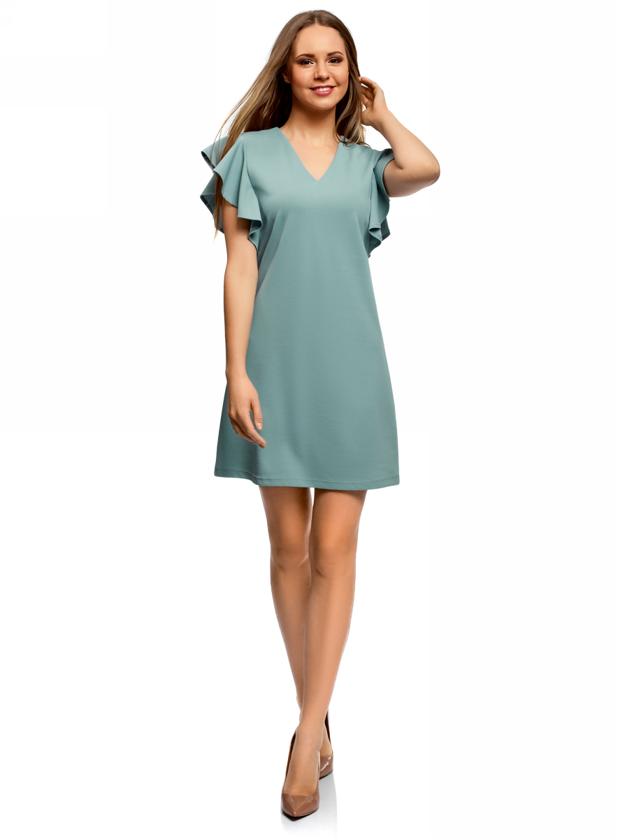 Платье oodji Ultra, цвет: голубой. 14005140/48053/7000N. Размер XS (42)