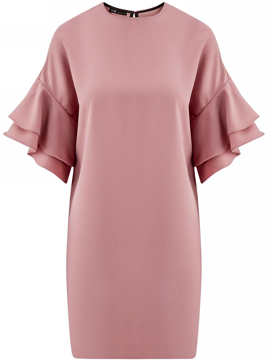 Офисное платье пыльно-розового цвета, без подклада.
