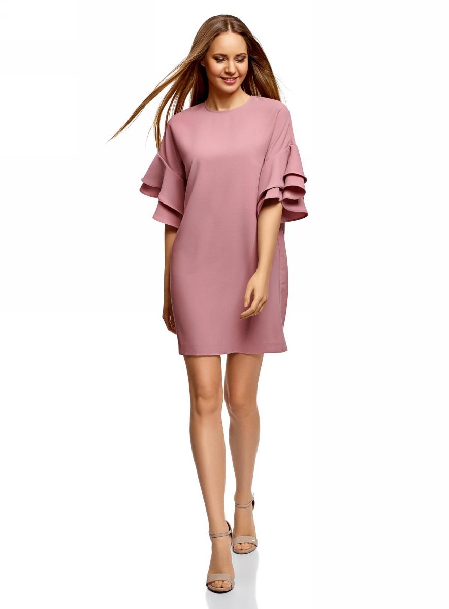 Платье oodji Ultra, цвет: пыльный розовый. 12C00005/42710/4A00N. Размер 42 (48-164)12C00005/42710/4A00NКороткое платье с цельнокроеным рукавом и воланами. Свободная модель силуэта баллон чуть заужена книзу. Вырез под горло оформлен на спинке вырезом-капелькой и застежкой на пуговицу. Короткие цельнокроеные рукава украшены эффектными воланами в два ряда.Легкая ткань приятна для тела, отлично держит форму и практически не мнется. Модель подойдет для фигур разных типов.Свободное платье с воланами на рукавах – это и прекрасный вариант для отдыха или вечера в кругу друзей, и безупречный наряд для торжественного случая. К нему легко подобрать нитку жемчуга или изящную брошь. Из обуви можно выбрать лодочки, туфли на платформе или босоножки на каблуке-рюмочке. Минодьер или сумочка с фермуаром поставит стильную точку в вашем наряде.В этом очаровательном платье с воланами вы всегда будете в центре внимания!