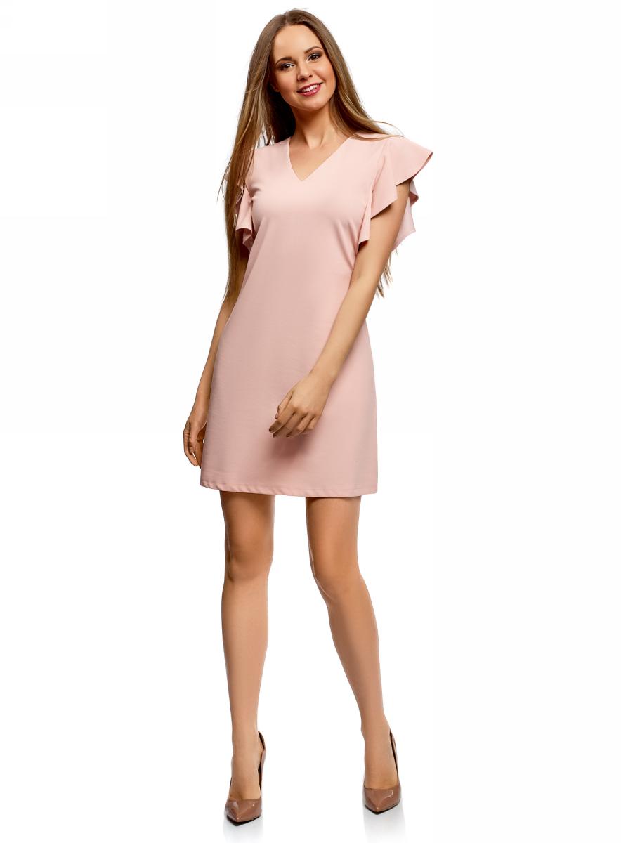 Платье oodji Ultra, цвет: светло-розовый. 14005140/48053/4000N. Размер XL (50)