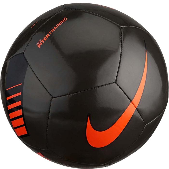 """Мяч футбольный Nike """"Pitch Training Football"""", цвет: черный, оранжевый. Размер 3"""