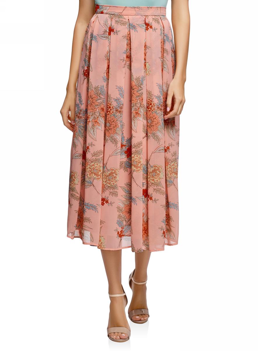 Купить Юбка oodji Collection, цвет: светло-розовый, голубой. 23G00009B/17358/4070F. Размер 46 (52-170)