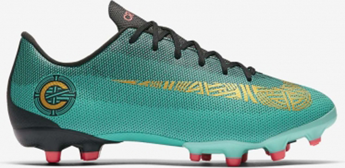 Бутсы для мальчика Nike Jr Vapor 12 Academy Gs Cr7 Mg, цвет: бирюзовый. AJ3089-390. Размер 4,5Y (35,5)AJ3089-390