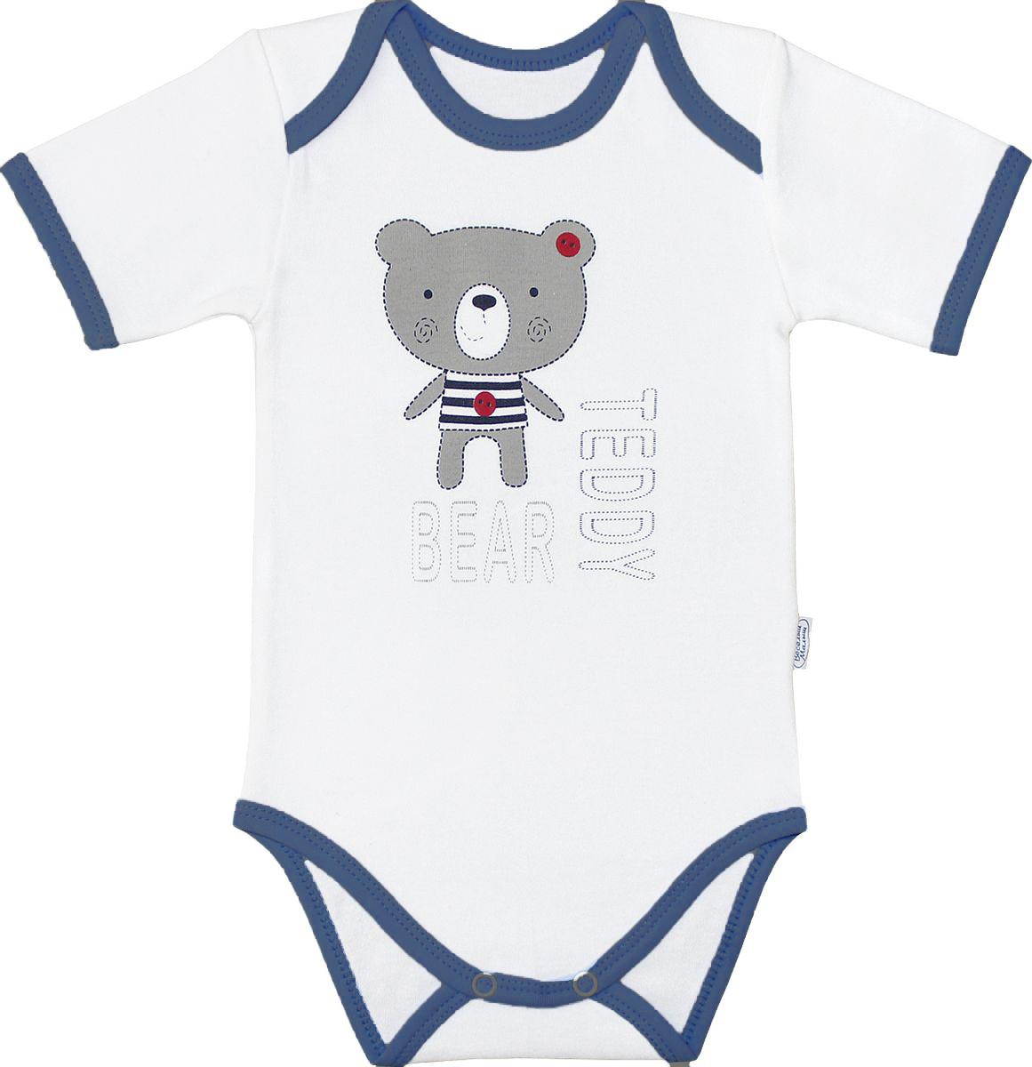 Боди для мальчика Веселый малыш Мишка Тедди, цвет: белый, синий. 41322/мт-D (1). Размер 74