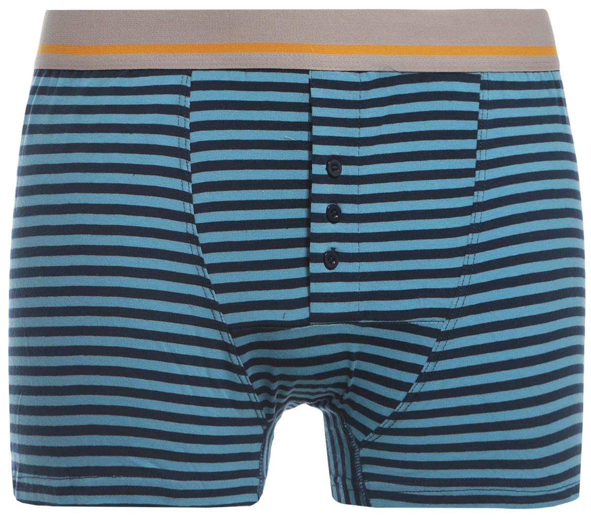 Трусы-боксеры мужские Sela, цвет: голубой. PUb-253/217-8132. Размер XS (44)PUb-253/217-8132Классические трусы-боксеры от Sela с контрастными полосками изготовлены из натуральной хлопковой ткани с добавлением эластана. У белья анатомический крой, благодаря которому достигается высокий уровень комфорта при носке. Трусы плотно облегают фигуру, не стесняя движений, и имеют незаметные плоские швы. Удобная широкая резинка обеспечивает идеальную посадку. Гульфик дополнен пуговицами.