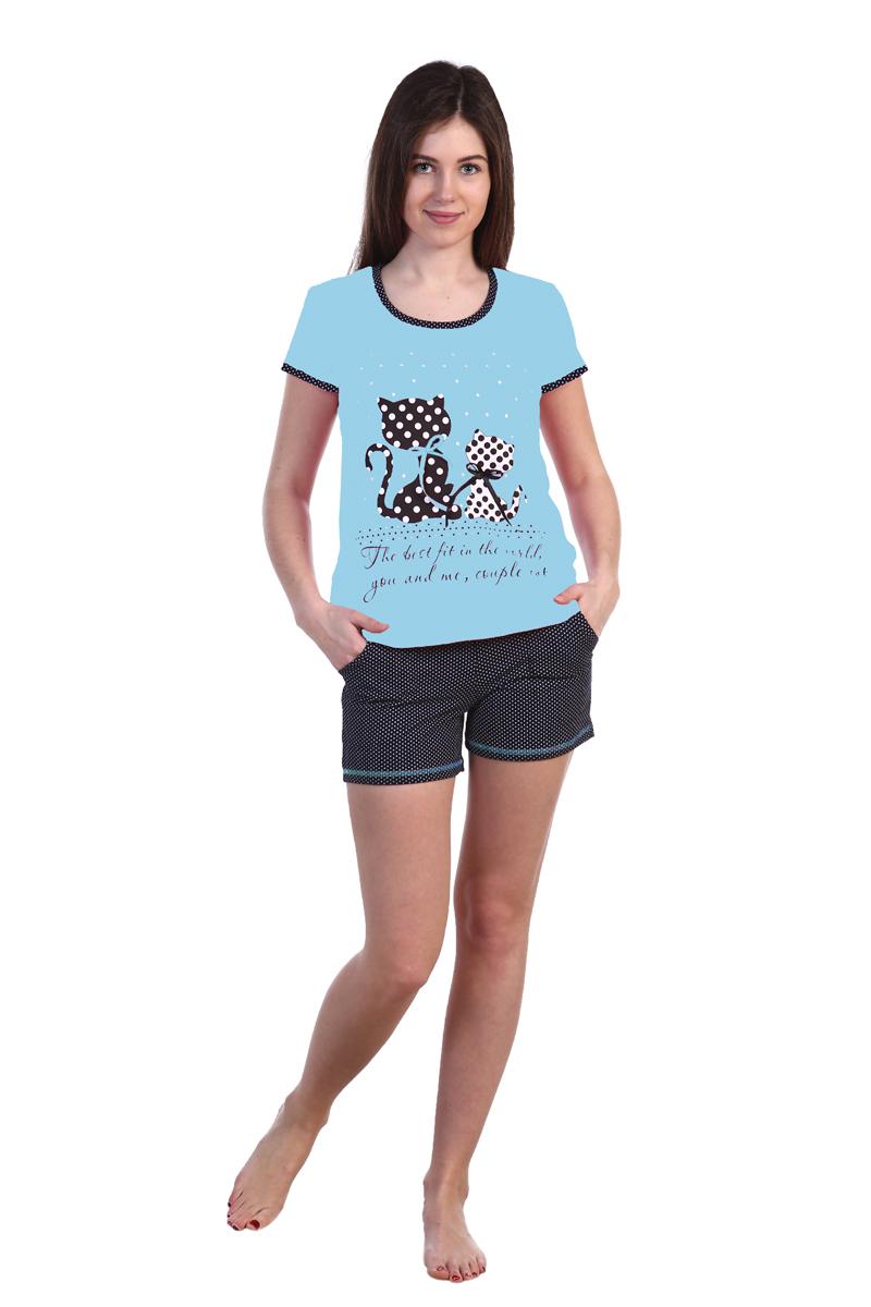 Домашний комплект женский Хоум Стайл, цвет: голубой, темно-синий. ХОС-630006-15. Размер 46 (46)ХОС-630006-15Удобная футболка и короткие шорты с карманами отлично впишутся в домашний гардероб. Также этот костюм можно носить и на прогулку. Длина шорт составляет 29 см, длина по внутреннему шву 9 см. Длина футболки по спинке 61 см.