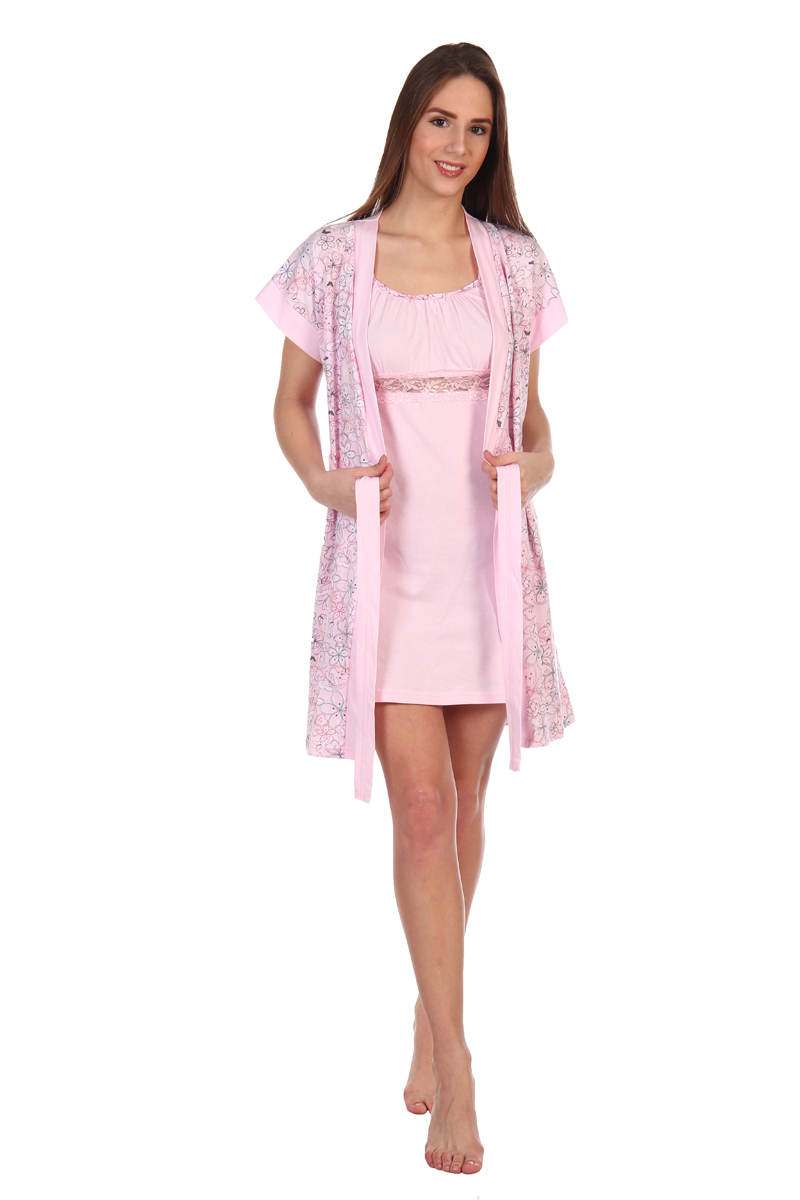Домашний комплект женский Хоум Стайл, цвет: светло-розовый. ХОС-610А052. Размер 50 (50)