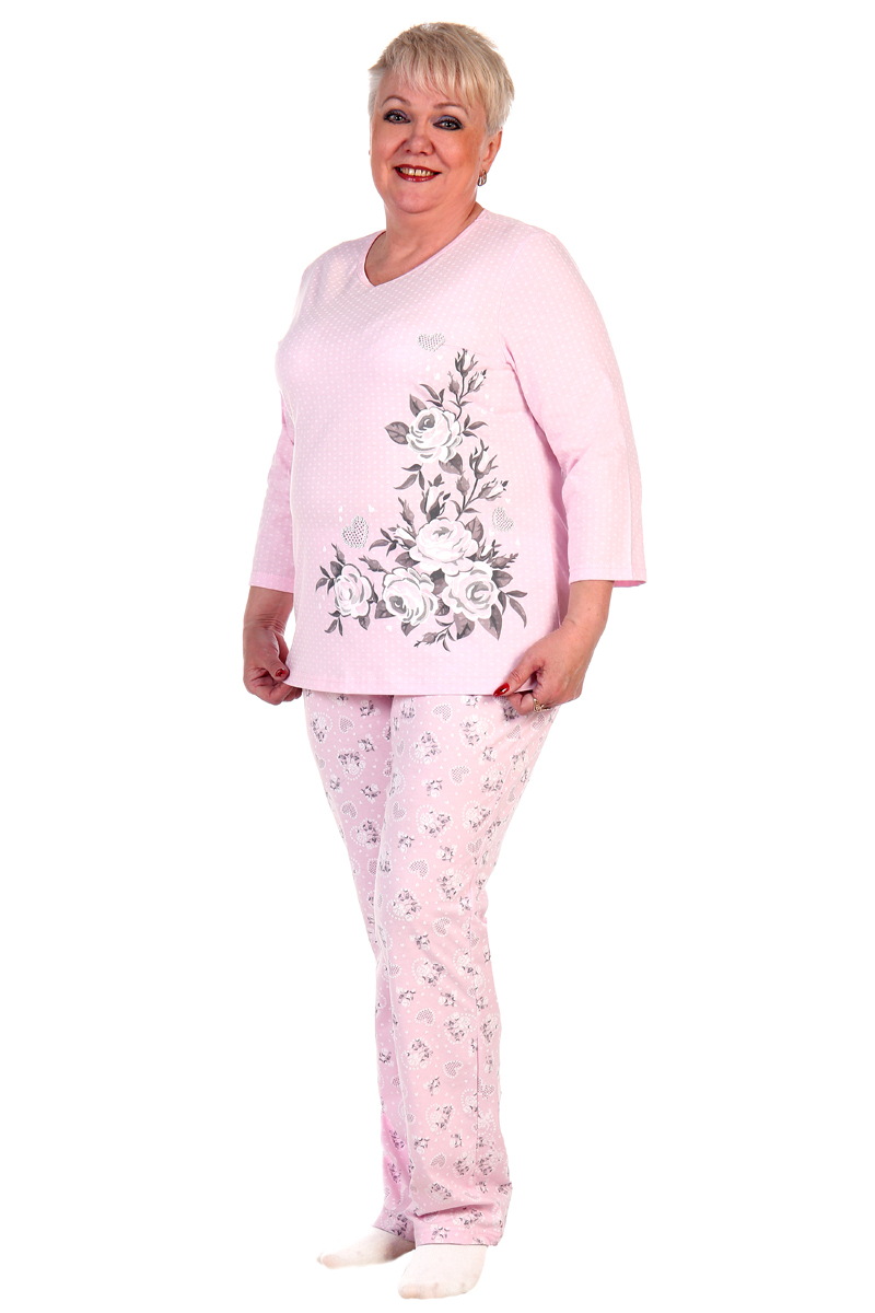 Пижама женская Хоум Стайл, цвет: светло-розовый. ХОС-938052. Размер 48 (48)ХОС-938052Удобная пижама для сна. Также данный комплект можно использовать как домашний костюм.