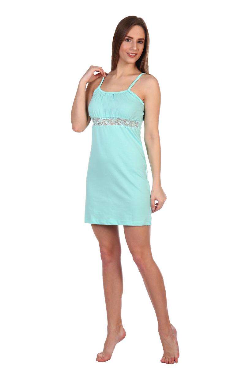 Платье домашнее Хоум Стайл, цвет: бирюзовый. ХОС-610С032. Размер 50 (50)ХОС-610С032Ночная сорочка из мягкого хлопка на бретельках отлично подойдет для сна. Под грудью сделана кружевная вставка для подчеркивания изгибов.