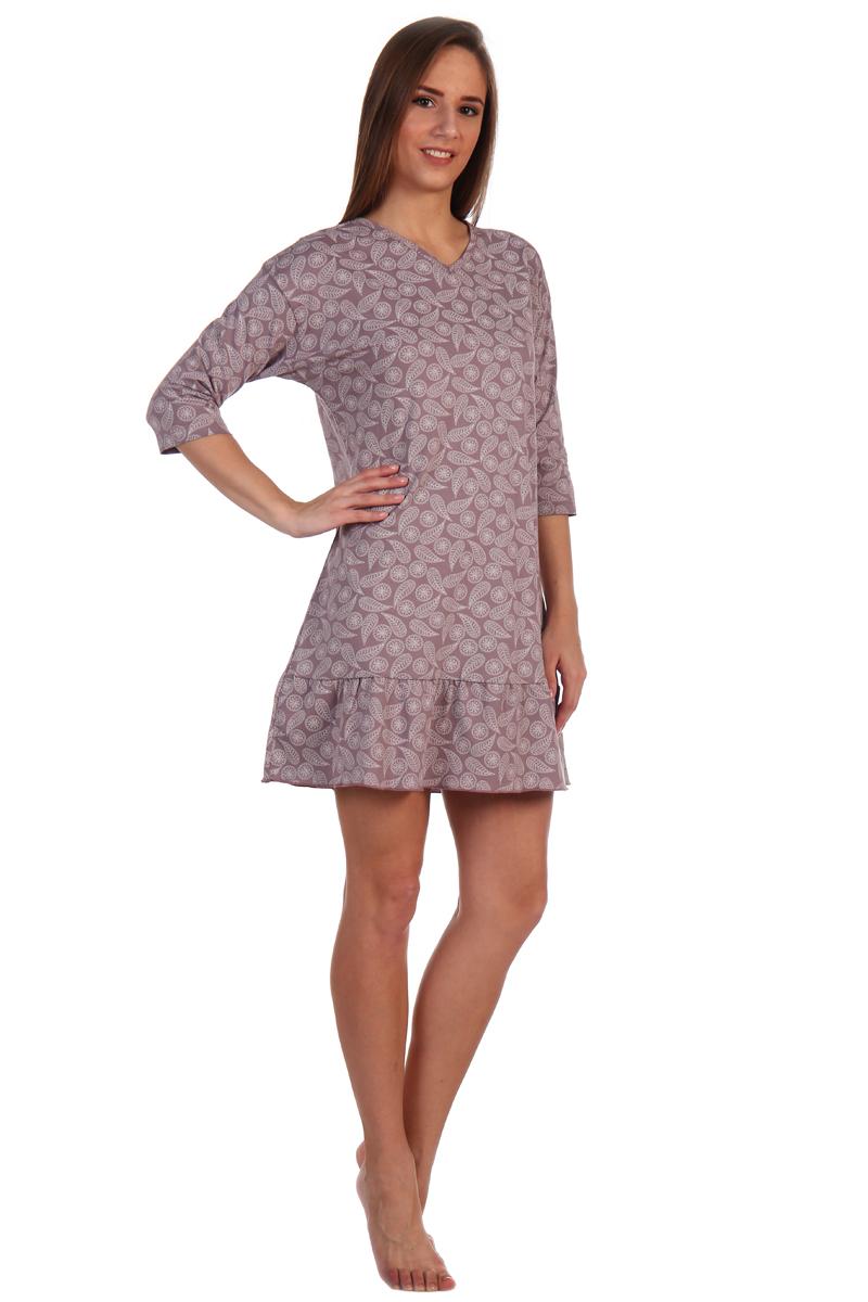 Платье домашнее Хоум Стайл, цвет: светло-коричневый. ХОС-932026. Размер 52 (52)