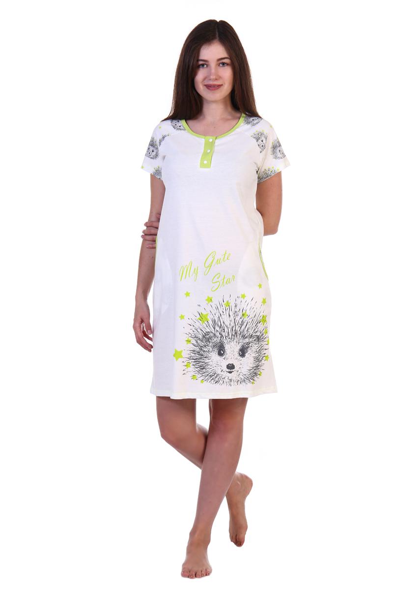 Платье домашнее Хоум Стайл, цвет: слоновая кость, светло-зеленый. ХОС-844058-20. Размер 50 (50)