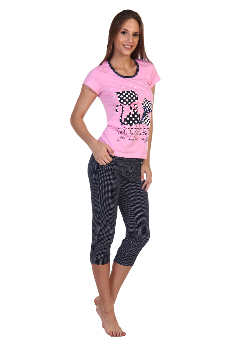 Домашний комплект женский Хоум Стайл, цвет: розовый, черный. ХОС-630Б011-1. Размер 50 (50) домашний костюм homelike
