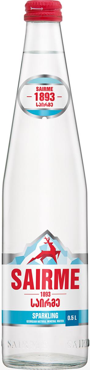 Саирме Вода газированная минеральная природная лечебно-столовая гидрокарбонатная кальциево-натриевая, 0,5 л, стекло вода минеральная питьевая природная столовая сенежская гидрокарбонатная кальциево магниевая 0 5л без газа