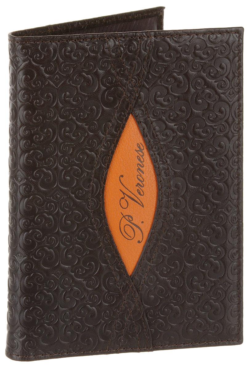 Обложка для паспорта женская Paolo Veronese, цвет: шоколадный. PV-NK013-OP0757-000