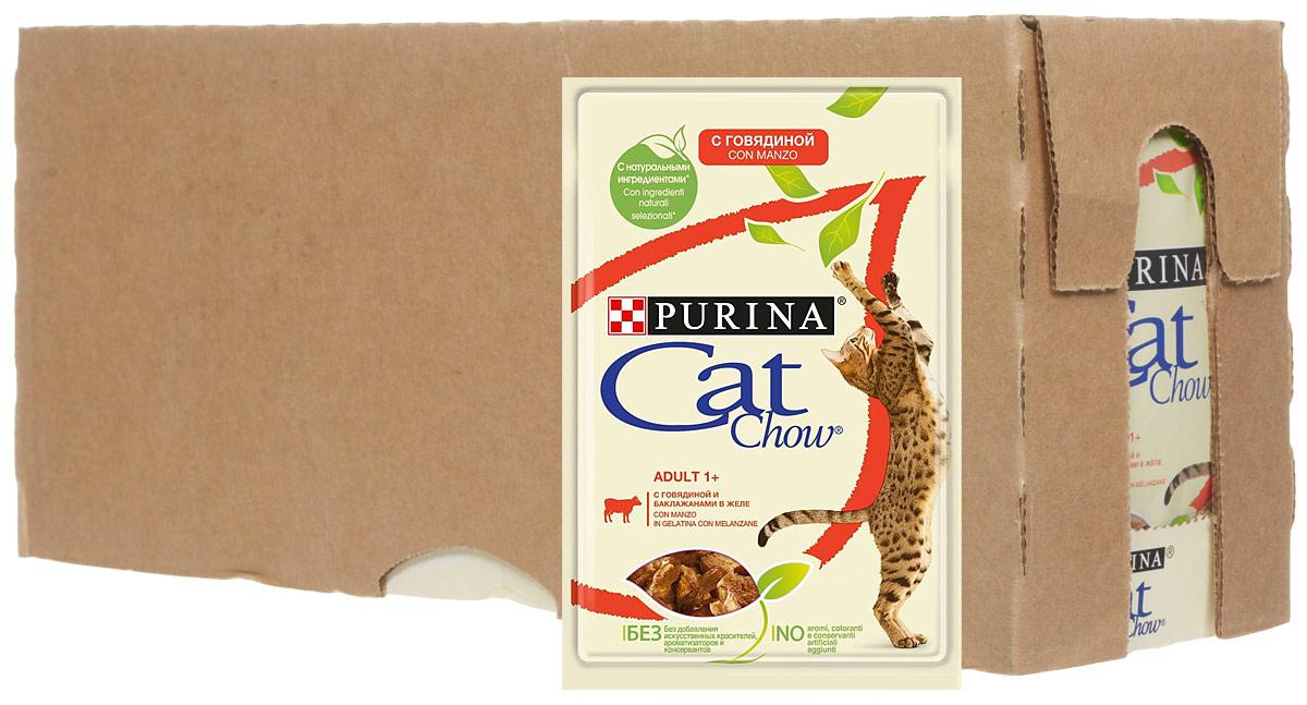 Консервы Cat Chow, для взрослых кошек сговядиной и баклажанами, 24 шт х 85 г витамин д3 водный для грудничков в киеве