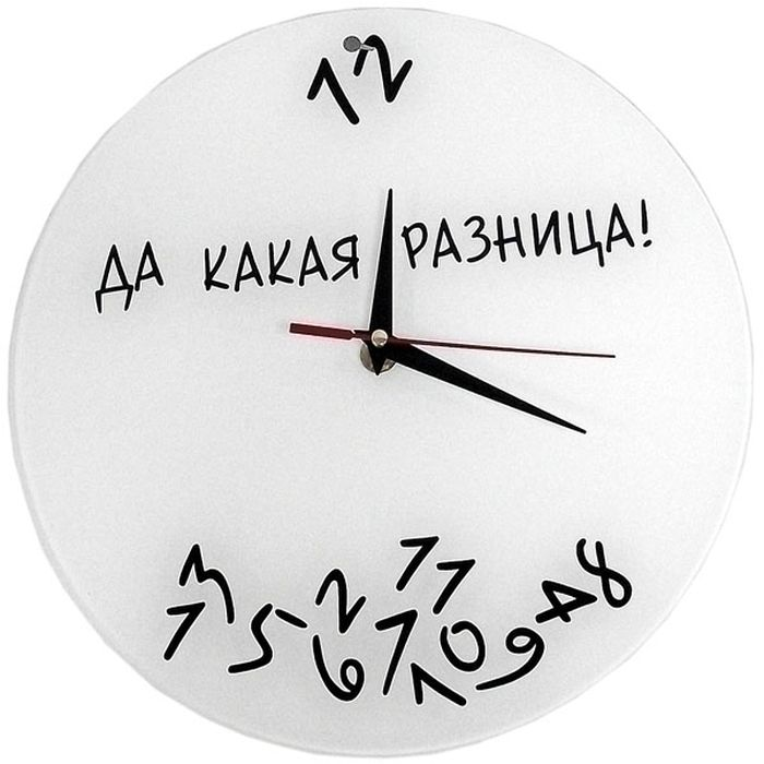Часы Эврика Да какая разница, стеклянные, цвет: белый97847Оригинальные часы выполнены на стеклянном основании. Механизм хода плавный, бесшумный (не тикают).