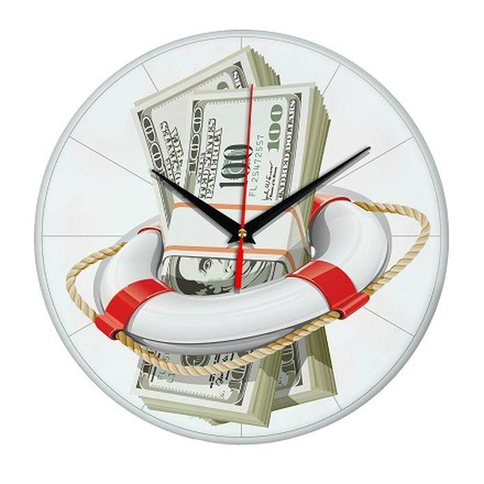 Часы настенные Эврика Спасательный доллар, стеклянные, цвет: белый