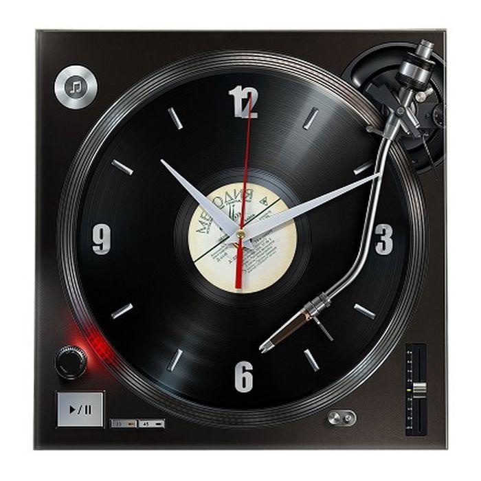 Часы Эврика Грампластинка, стеклянные, цвет: черный98297Оригинальные часы, высокого качества. Диск выполнен из стекла. Механизм плавного хода (не тикающий). Элемент питания 1хАА LR6.