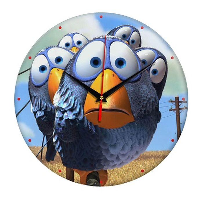 Часы настенные Эврика Птички, стеклянные, цвет: синий