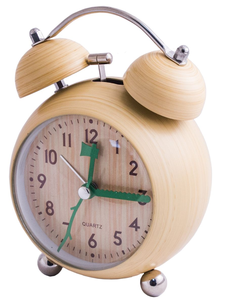 Настольный будильник с покрытием под дерево (дуб светлый) - удачный подарок для тех, кто любит дерево или связал свою жизнь с его обработкой. Природная расцветка, тонкие концентрические окружности, экологичный дизайн привносят в обстановку естественный уют, покой и умиротворение. Механизм хода плавный.Материал: металл, стекло, пластик. Элемент питания 1 Х АА (1,5 Вольта).