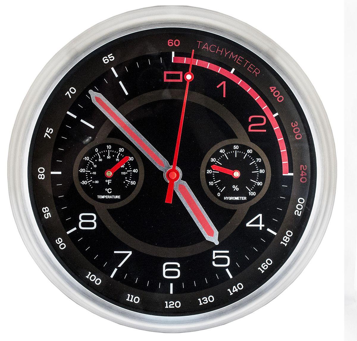 Часы настенные Эврика Спидометр №2, цвет: черный98685Необычные настенные часы стилизованы под прибор автомобильной панели. Они способны информировать обладателя не только о точном времени, но также и температуре воздуха и влажности в помещении. Для сбора этих данных в часы вмонтированы дополнительные циферблаты. Механизм хода прямой, бесшумный. Материал: пластик, металл.Элемент питания 1хАА 1.5 Вольта.