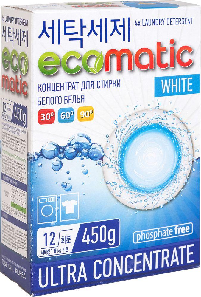 Концентрированный стиральный порошок Ecomatic White, 450 г детские моющие средства biomio экологичный стиральный порошок для белого белья без запаха 1500 г