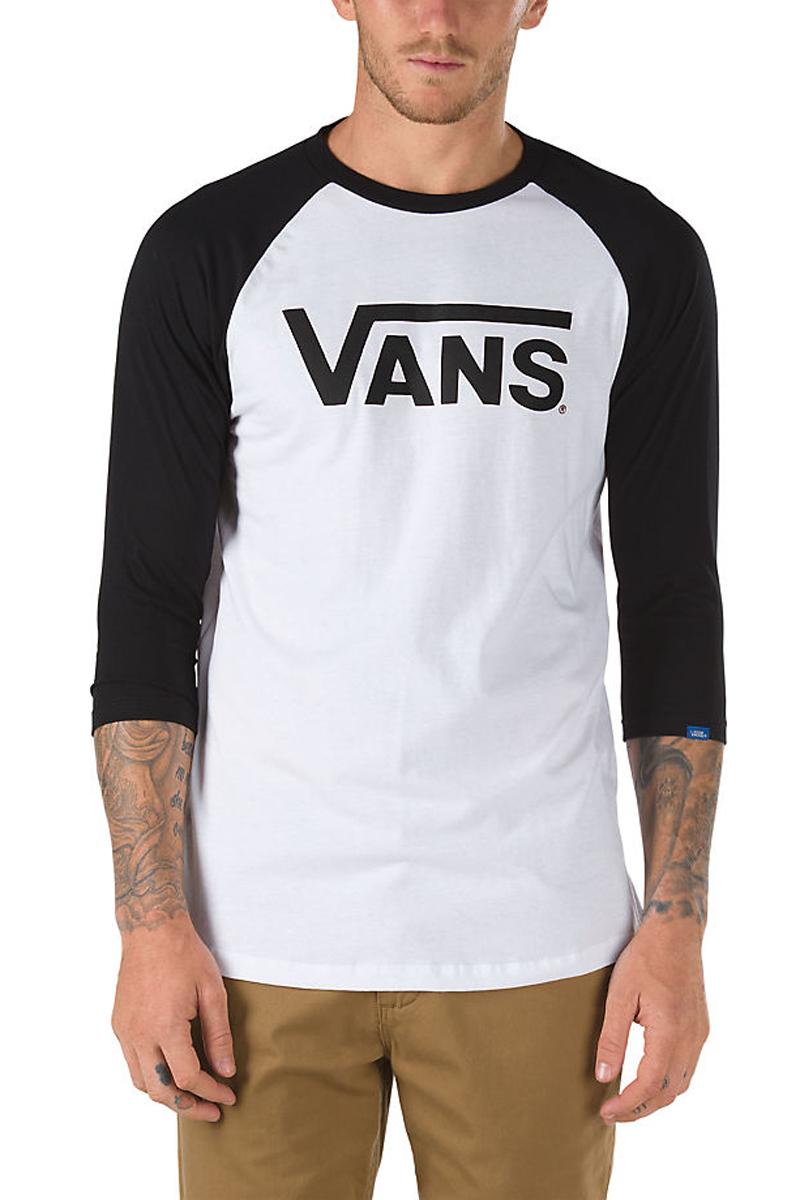 Купить Футболка с длинным рукавом мужская Vans Classic Ragl, цвет: черный, белый. V2QQYB2. Размер M (48/50)