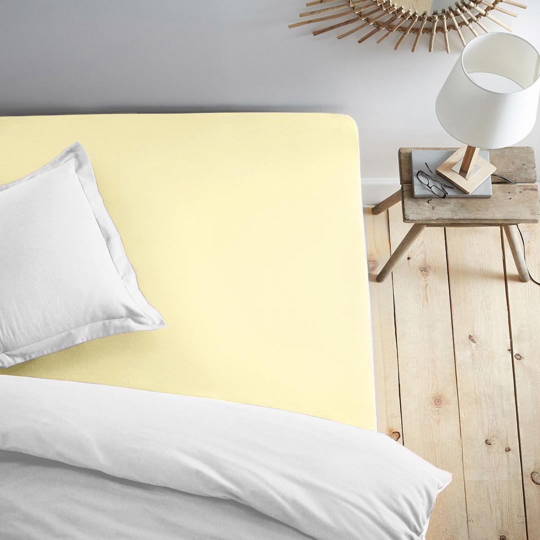 Простыня на резинке Dome, трикотажная, цвет: нежно-желтый, 140x200 смdme281988Трикотажная простыня на резинке - это нежность, мягкость и комфорт на каждый день. Благодаря резинке по всему периметру, простыня не сбивается и не мнется во время сна. Трикотаж из 100% хлопка хорошо пропускает воздух, легко стирается и остается мягким после многократных стирок.