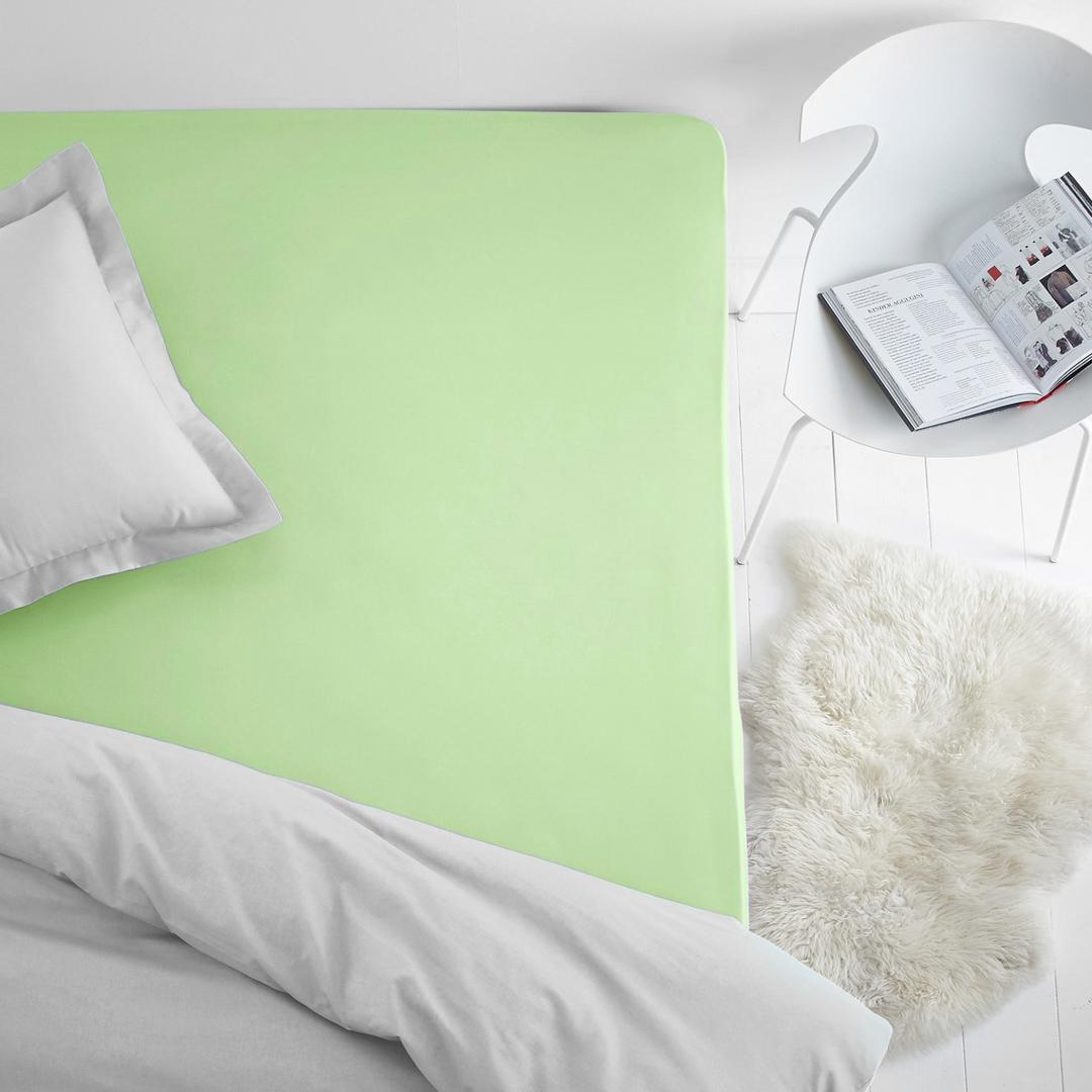 Простыня на резинке Dome, махровая, цвет: салатовый, 80х200 см