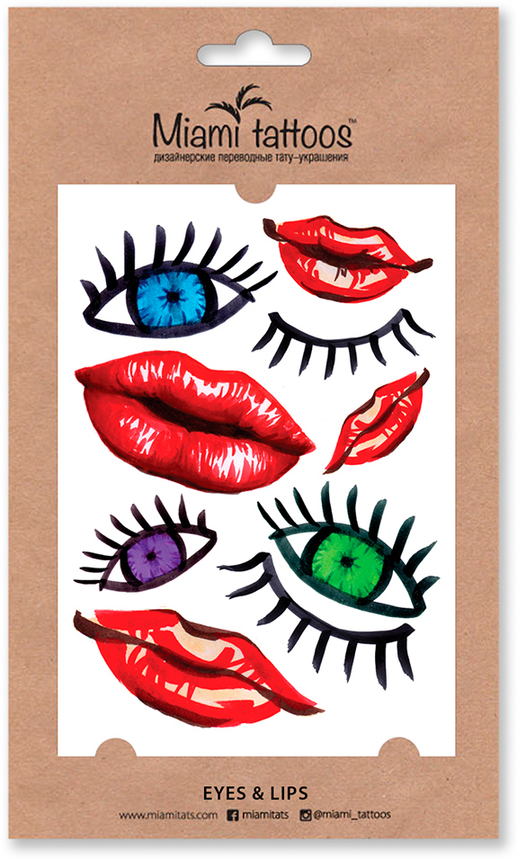 Miami Tattoos Акварельные переводные тату Eyes&Lips, 1 лист, 10 х 15 см flash tattoos sheebani authentic metallic temporary tattoos