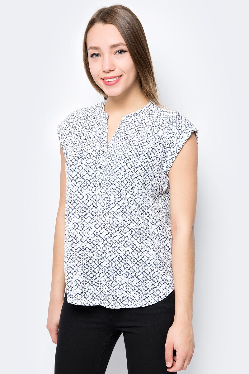 Блузка женская Sela, цвет: белый, синий. Bks-112/558-8293. Размер XXL (52) блузка женская sela цвет синий bks 112 558 8293 размер xxl 52