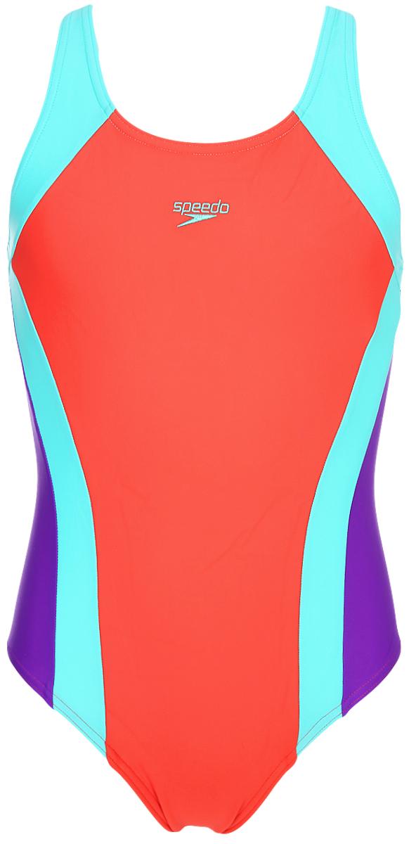 Купальник слитный для девочки Speedo ESS SPBK JF, цвет: красный, голубой, фиолетовый. 8-08749C276-C276. Размер 1168-08749C276-C276Купальник для девочек с контрастными вставками от Speedo - удачный выбор как для пляжного отдыха, так и для бассейна. Технологичная ткань Endurance10 не содержит в своем составе эластомеров и устойчива к воздействию хлора. Эластичная ткань, которая тянется в четырех направлениях, обеспечивает комфорт и удобную посадку. Благодаря технологичному материалу, изделие поглощает меньше воды, поэтому оно быстрее сохнет и дольше сохраняет свою форму. Материал с фактором защиты от ультрафиолета UPF 50 блокирует вредное солнечное излучение.