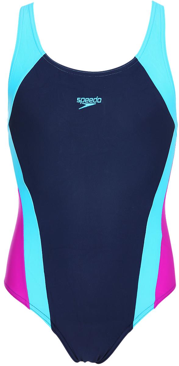 Купальник слитный для девочки Speedo ESS SPBK JF, цвет: темно-синий, голубой, розовый. 8-08749C232-C232. Размер 176 диски для аквафитнеса speedo hydro discs голубой