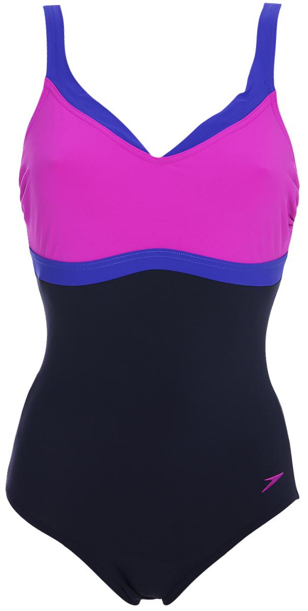 Купальник слитный Speedo Spdscu Aquajewel 1Pce Af, цвет: темно-синий, розовый, фиолетовый. 8-10414C225-C225. Размер 42 (54/56)8-10414C225-C225Женский купальник Speedo с контрастными вставками и технологией Body Sculpture. Модель изготовлена из ультра легкой ткани LYCRA XTRA LIFE, которая максимально устойчива к разрушительному воздействию хлора. Ткань, из которой выполнена модель, поглощает меньше воды и быстрее сохнет. Эластичная ткань распределяет давление и обеспечивает утягивающий эффект, что обеспечивают удобную индивидуальную посадку и визуальное моделирование фигуры. В данной модели предусмотрена средняя поддержка груди, которая обеспечивается специальной конструкцией без чашек. Регулируемые лямки обеспечивают дополнительный комфорт.