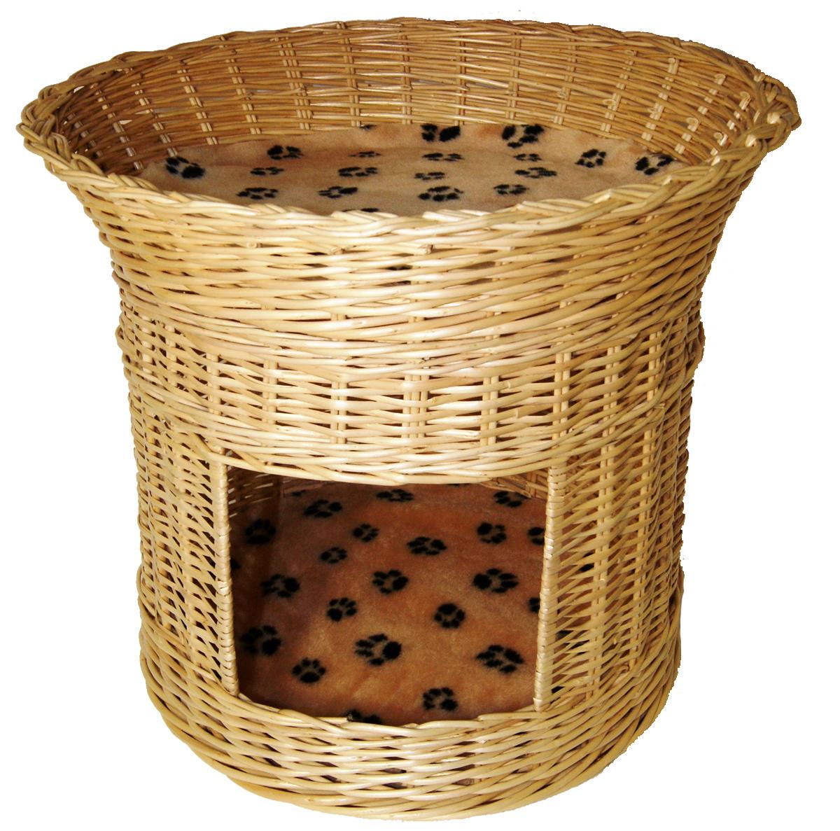 Домик для кошек Меридиан, 2-ярусный, цвет: лапки, 54 х 54 х 47 см домик когтеточка меридиан угловой 4 ярусный цвет тигровый 55 х 48 х 158 см