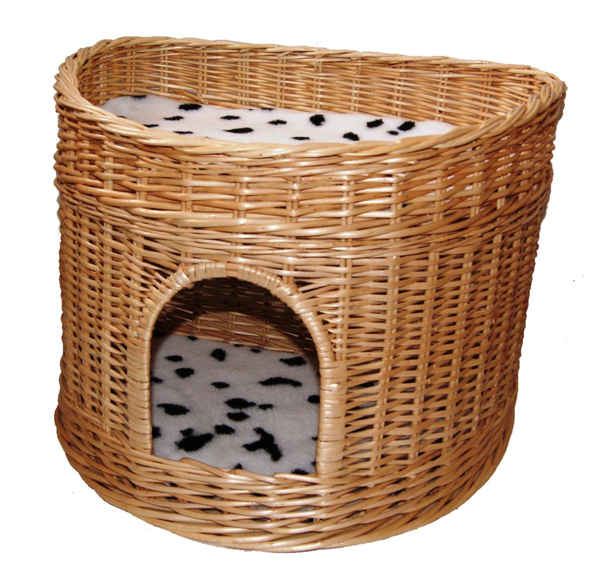 Домик для кошек Меридиан, 2-ярусный, цвет: черный, белый, 55 х 40 х 42 смАрт 378 Д