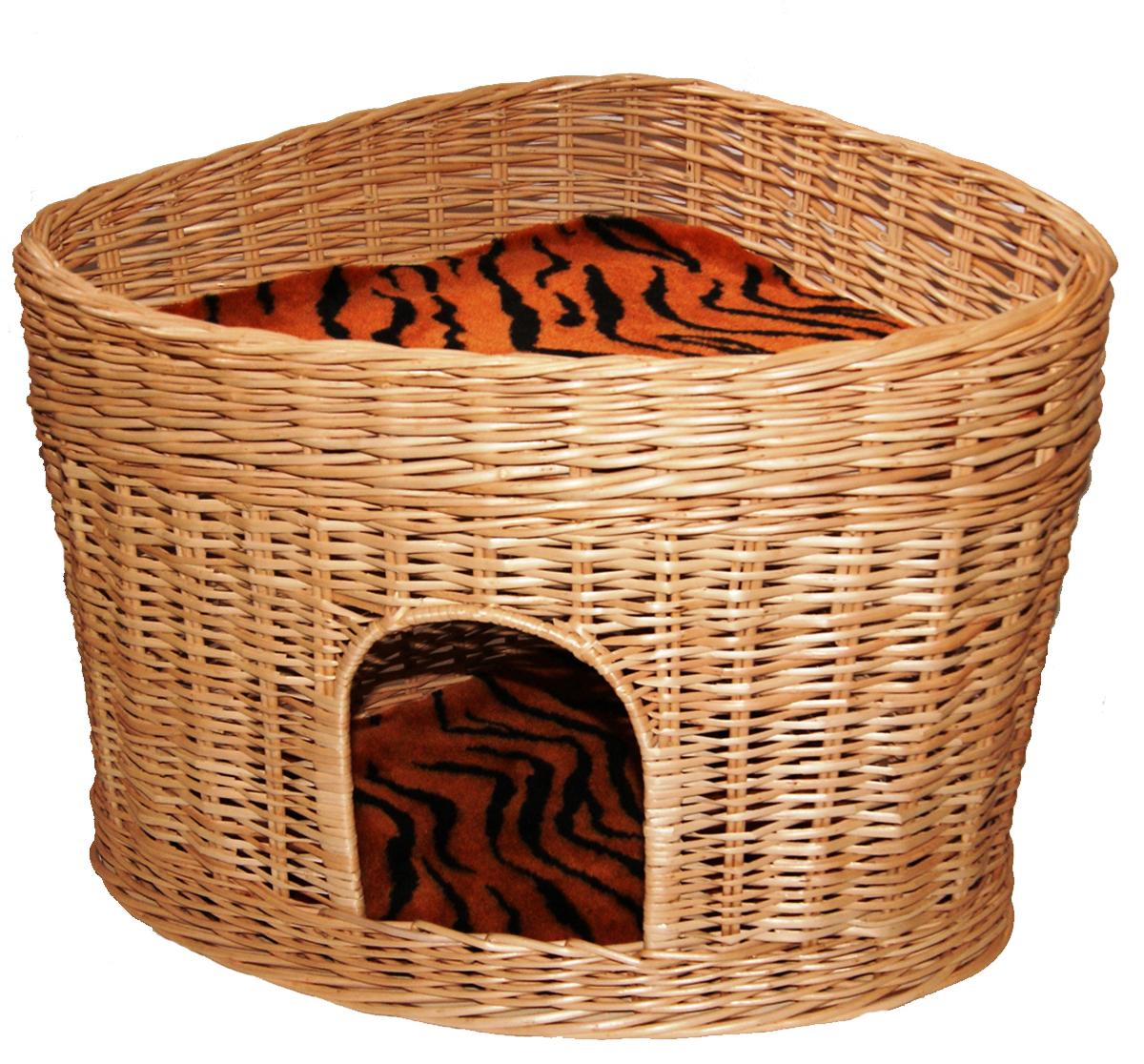 Домик для кошек Меридиан, угловой, 2-ярусный, цвет: тигровый, 61 х 43 х 47 см домик когтеточка меридиан угловой 4 ярусный цвет тигровый 55 х 48 х 158 см
